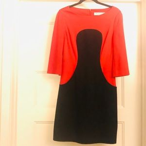 Trina Turk Color Block Red & Black Pocketed Dress